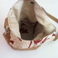 Eco handmade leather handbag with kangaroo paw fabric