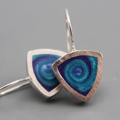Stylish swirly Resin and Sterling silver Earrings
