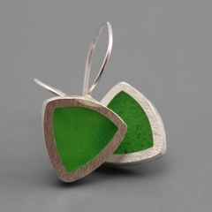 Stylish Green Resin and Sterling silver Earrings