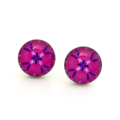 Stainless steel & resin studs - Fuchsia pink & purple floral