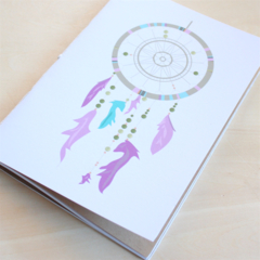 Notebook, Dreamcatcher, A5, Hand stitched, Recycled Paper, 60 pages