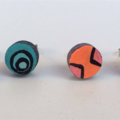 Ombré Aqua turquoise circles hand painted earrings studs jewellery art geo ooak