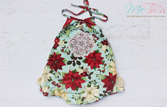 11522be7620 Vintage red Green and Gold  Christmas Romper Playsuit Baby Girl ...
