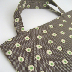 Green, cream and brown floral print calico lined tote