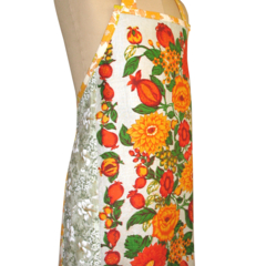 Metro Retro Orange Bold Floral Tea Vintage Towel Apron * Birthday Gift