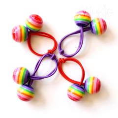 Hair ties. Funky. Rainbow. Baubles. Stripes.