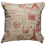 Paris Stamp in Red Cushion