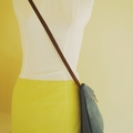 Cross-body bag / clutch / leather strap / blue faux suede