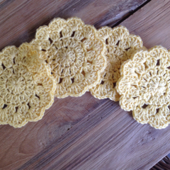 4 Crochet Flower Coasters