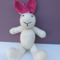 Soft Cream Hand Knitted Bunny Rabbit with Cute Big Pink Ears and Tail