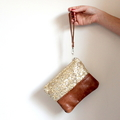 Sequin clutch, wristlet, zipper pouch, gold sequin and leather
