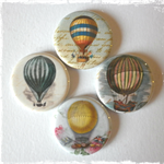 4 x Vintage Hot Air Balloon Fridge Magnets (3cm)