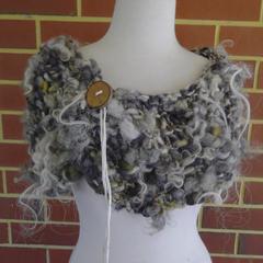 Hand Spun Handknitted Bulky Art Yarn Collar Scarf