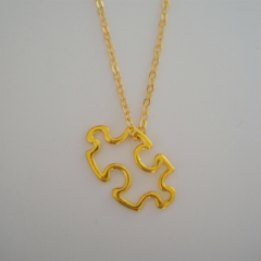 Puzzle Piece Necklace - Gold, Jigsaw