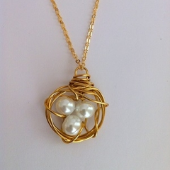 Bird Nest Necklace - Gold and White Pearls