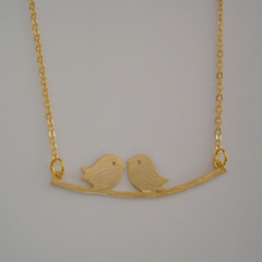 Love Birds on Branch Necklace in Gold - dainty love friendship, Mothers Day Gift