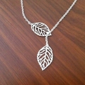 Silver Leaf Lariat Necklace, Mother's Day Gift