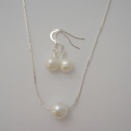 Single Floating Pearl Jewelry Set - Necklace and Earrings