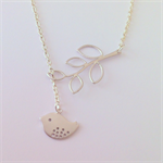 Bird and Branch Lariat Necklace - Silver