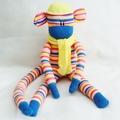 Sock Monkey Kit - Blue Pink and Yellow Slim Stripes