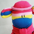 Sock Monkey Blue Pink and Yellow Stripes
