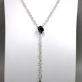 Onyx drop on sterling silver chain