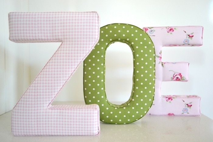 Fabric Letter Wall Art in Shabby Chic Pink | Cheekee Monkeez