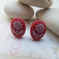Red Glass with White Etched Flower Studs