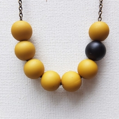 Yellow Beaded Asymmetrical Necklace with Single Black Bead Feature