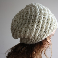 Pure Wool Cream Hand Knitted Hat Beanie