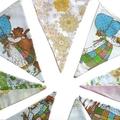 Holly Hobbie Vintage & Floral Flag Bunting * Girls Pennant Decoration