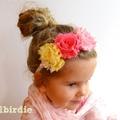Shabby Rose Flower Headband Baby Headband Birthday Tiara