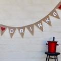 DRINKS White Hessian Wedding Celebration Party Banner Bunting Decoration