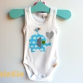 Baby Boys Blue Elephant Baby Onesie All Sizes Available
