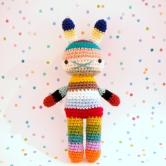 hobart .. rainbow easter rabbit toy, amigurumi plushie crochet softie