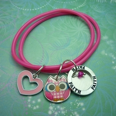 Message Bracelet - Pink, Charms, Handstamped, Customised
