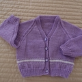 SIZE 1-2 yrs - Girls hand knitted purple cardigan: lightweight, washable