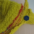 Lollypop - Hand Spun Wool Knitted Scarflette Vintage Buttons