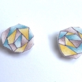 Geometric earrings in green, yellow and grey