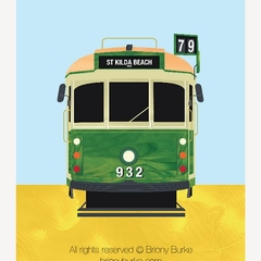St Kilda Beach - Richmond, Melbourne, Australia Tram 8 x 10 Art Print/Wall Art -