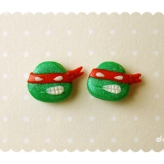 Kawaii Raphael handmade stud earrings - Teenage Mutant Ninja Turtles tribute