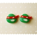 Kawaii Raphael handmade stud earrings - Teenage Mutant Ninja Turtles tribute
