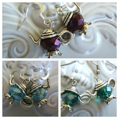 TEAPOT EARRINGS crystal green colour or any colour you like earring