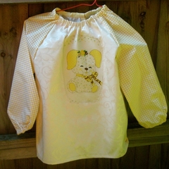 Art smock age 1 to 2 years (toddler) Yellow Teddy bear. T13.