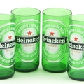 Upcycled Heineken Beer Bottle Glass Tumblers - Set of 4