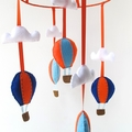 Blue and Orange Hot Air Balloon mobile for kid's room