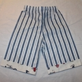 Boys Long blue striped shorts with scooter detail