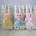 Peter Rabbit Print Bunny with Rattle - Pink