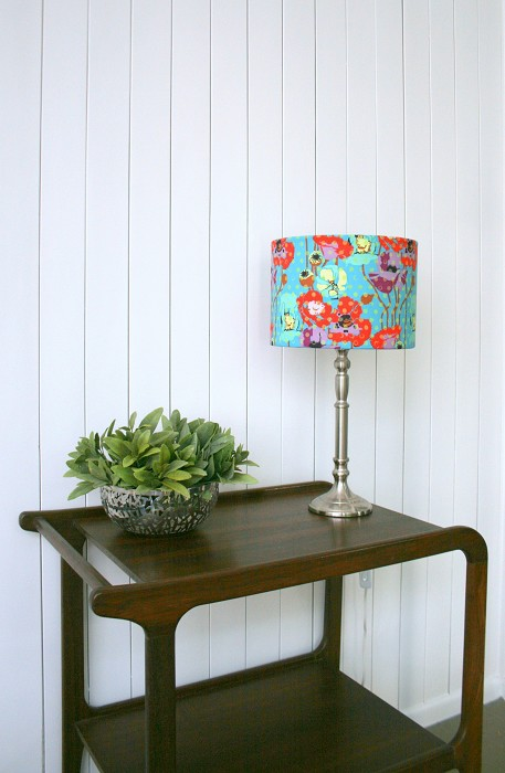 Teal Green Red Poppy Fabric Table Or Floor Lampshade