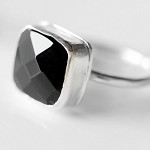 Beautiful square cushion- cut black onyx and sterling silver ring.